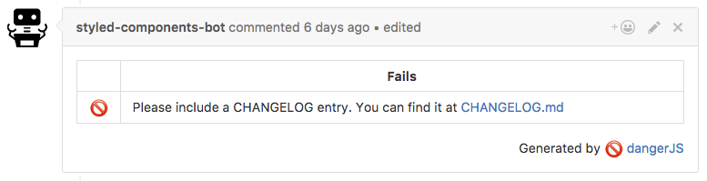 Danger commenting on GitHub with the above text