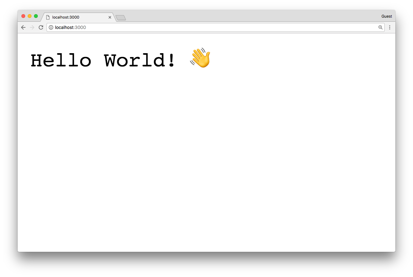 "A browser page showing ""Hello World! 👋"""